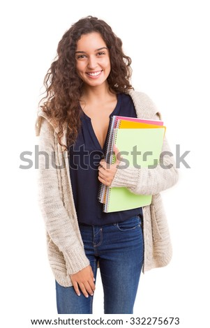 Studio shot of a beautiful student - stock photo