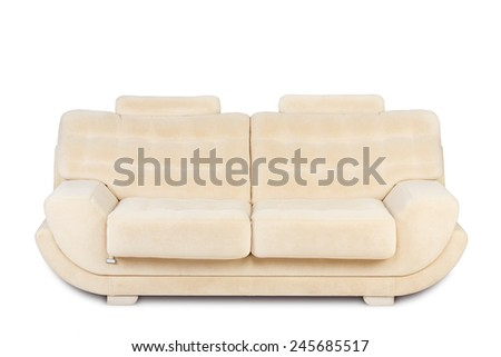 Studio shot of a beige modern sofa on white background - stock photo