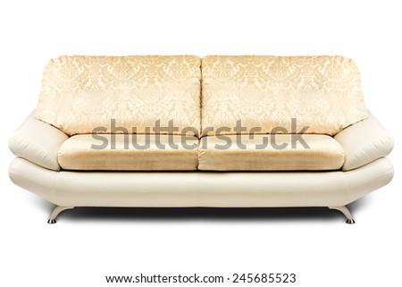 Studio shot of a beige modern sofa on white background - stock photo