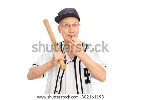 Studio shot of a cheerful senior holding baseball bat and blowing a whistle isolated on white background - stock photo