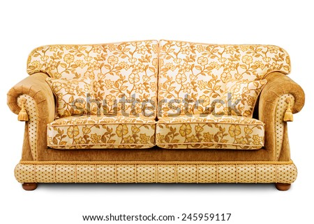 Studio shot of a classic-style sofa on white background - stock photo