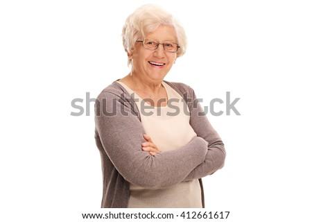 Studio shot of a joyful elderly lady posing isolated on white background - stock photo
