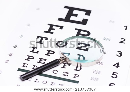 Studio shot of a magnifying glass on an eye chart with the focus on the magnifier - stock photo