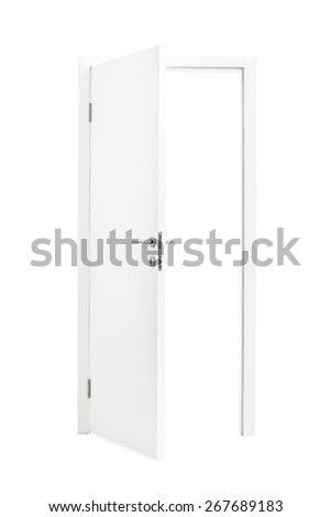 Studio shot of a white opened door isolated on white background - stock photo