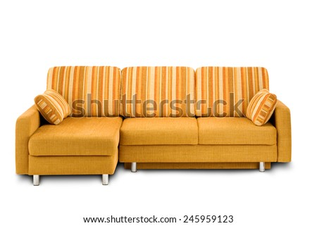 Studio shot of a yellow angle sofa on white background - stock photo