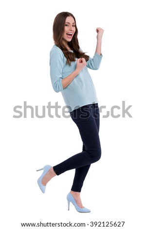 Studio shot of an attractive young woman  - stock photo