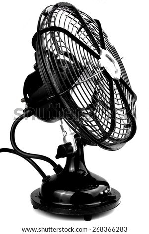 Studio shot of an old electric fan - stock photo