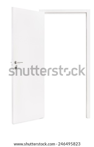 Studio shot of an opened modern white door isolated on white background - stock photo