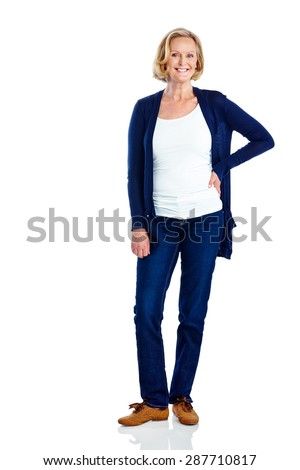 Studio shot of attractive mature woman posing on white background with copyspace - stock photo