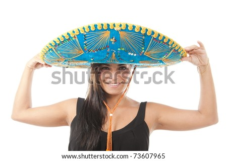 Studio shot of beautiful Girl with mexican hat . - stock photo