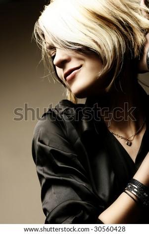 Studio Shot of Beautiful Young Brunette Girl - stock photo