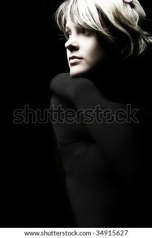 Studio Shot of Beautiful Young Girl - stock photo