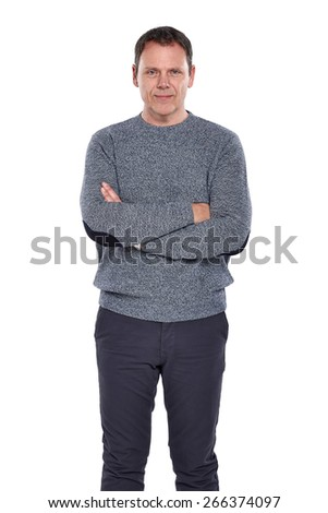 Studio shot of confident mature man standing with his arms crossed on white background - stock photo