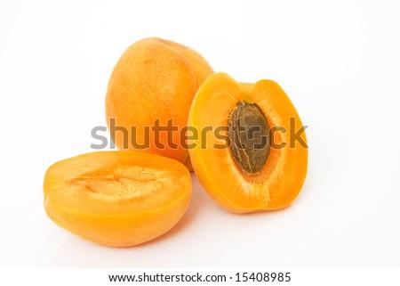 studio shot of fresh apricots isolated against white background - stock photo