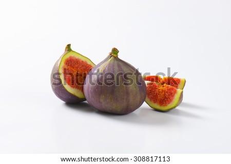 Studio shot of fresh fig fruits - stock photo