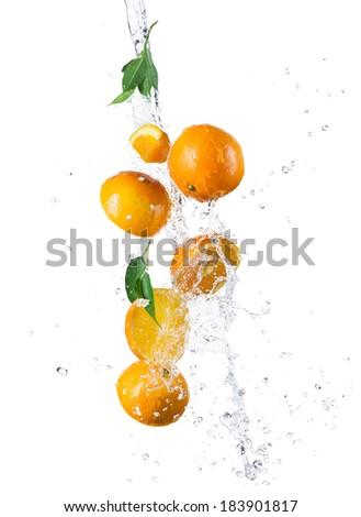 Studio shot of fresh oranges with water splash, isolated on white background - stock photo