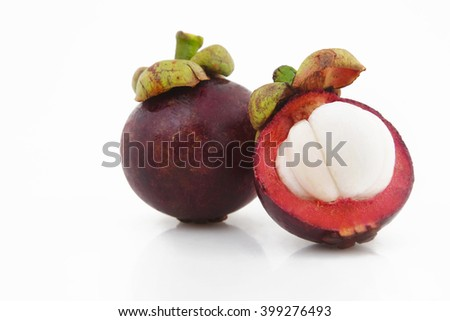 Studio shot of manggis, mangosteen fruit - stock photo