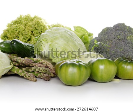 Studio shot of mixed vegetables on white background - stock photo