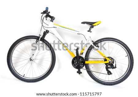 Studio shot of mountain bike on white background - stock photo