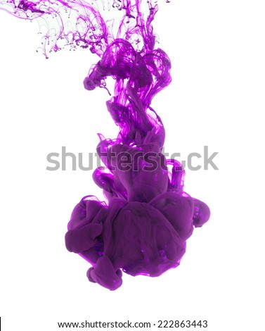 Studio shot of purple ink in water, isolated on white background - stock photo
