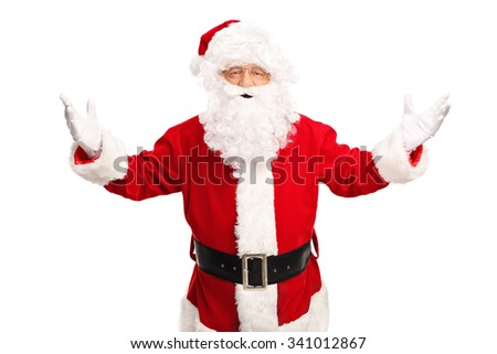 Studio shot of Santa Claus gesturing with his hands and looking at the camera isolated on white background - stock photo