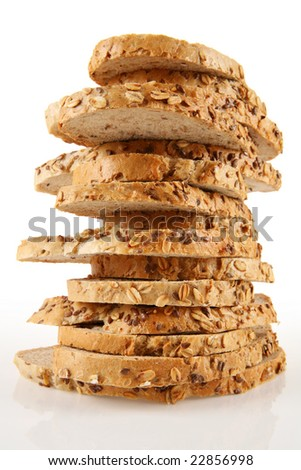 Studio shot of stack of bread on light table. - stock photo