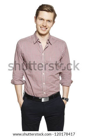 Studio shot of young man against a white background. - stock photo