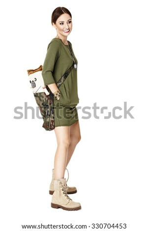 Studio shot of young woman with bag. Isolated one white background.  - stock photo