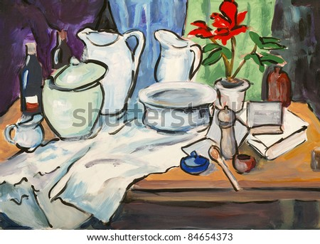 study for a still life painting - stock photo