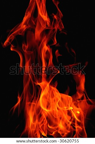 study of pattern and color of flames - stock photo