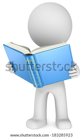 Study. The Dude standing reading a blue book. 3D little human character. - stock photo