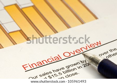 Studying a financial overview of a company with high sales growth. - stock photo