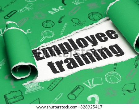 Studying concept: black text Employee Training under the curled piece of Green torn paper with  Hand Drawn Education Icons - stock photo