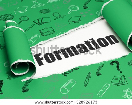 Studying concept: black text Formation under the curled piece of Green torn paper with  Hand Drawn Education Icons - stock photo