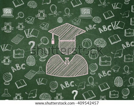 Studying concept: Chalk Pink Student icon on School board background with  Hand Drawn Education Icons, School Board - stock photo