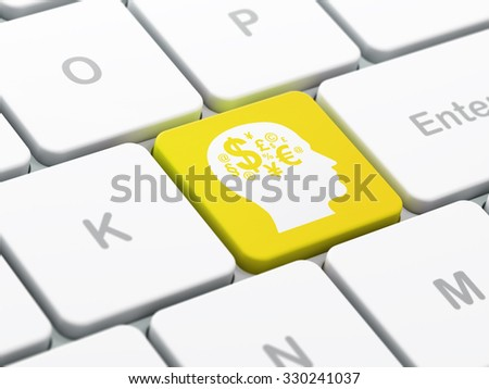 Studying concept: computer keyboard with Head With Finance Symbol icon on enter button background, selected focus, 3d render - stock photo