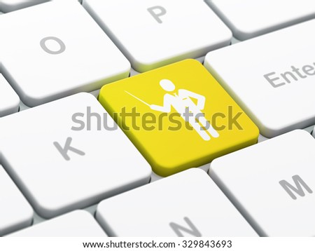 Studying concept: computer keyboard with Teacher icon on enter button background, selected focus, 3d render - stock photo