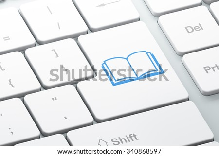 Studying concept: Enter button with Book on computer keyboard background, 3d render - stock photo