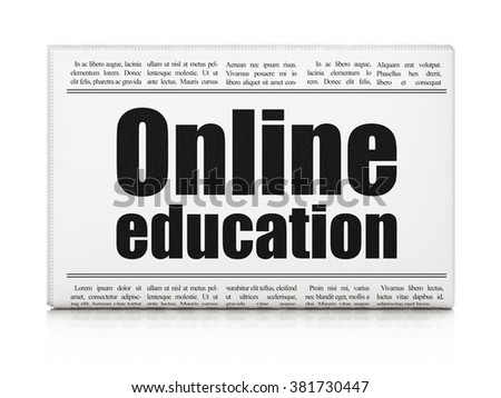 Studying concept: newspaper headline Online Education - stock photo