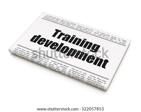 Studying concept: newspaper headline Training Development on White background, 3d render - stock photo