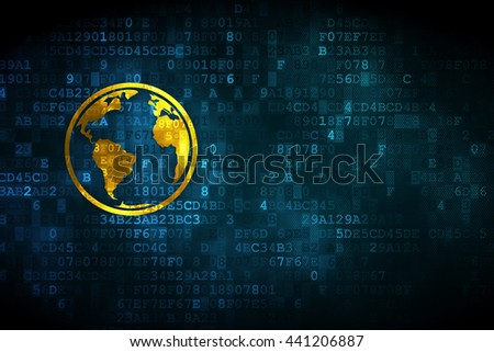 Studying concept: pixelated Globe icon on digital background, empty copyspace for card, text, advertising - stock photo
