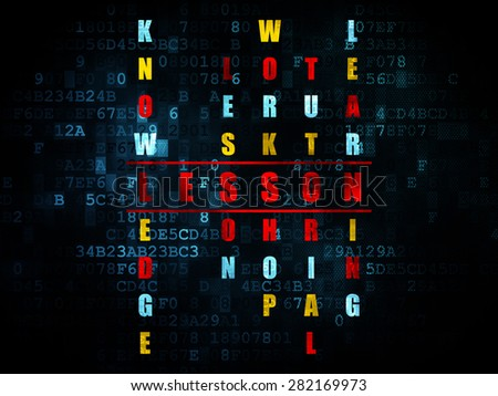 Studying concept: Pixelated red word Lesson in solving Crossword Puzzle on Digital background, 3d render - stock photo