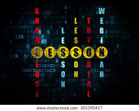 Studying concept: Pixelated yellow word Lesson in solving Crossword Puzzle on Digital background, 3d render - stock photo