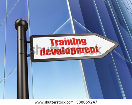 Studying concept: sign Training Development on Building background - stock photo