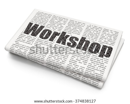 Studying concept: Workshop on Newspaper background - stock photo