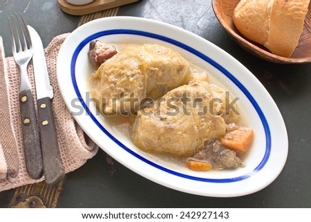 Stuffed cabbage rolls with minced meat in plate - stock photo