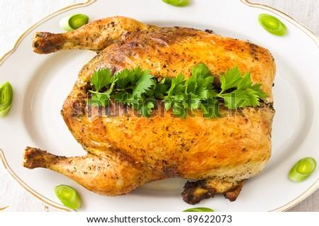 Stuffed chicken with buckwheat - stock photo