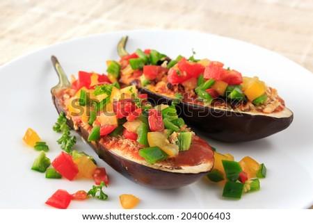 Stuffed eggplant food for vegetarian - stock photo
