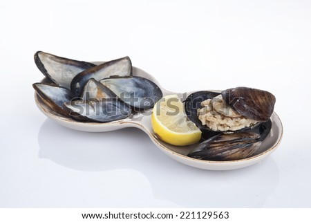 Stuffed Mussels, Midye Dolma mediterranean cuisine with white background - stock photo