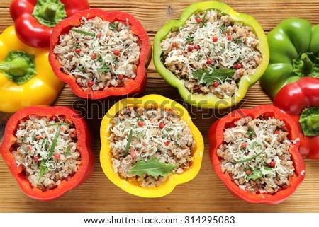 Stuffed paprika with meat, rice and buckwheat. - stock photo